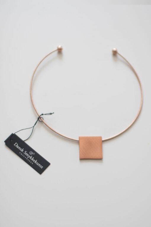 Dansk Smykkekunst Theia Square Necklace Rose Gold Plating